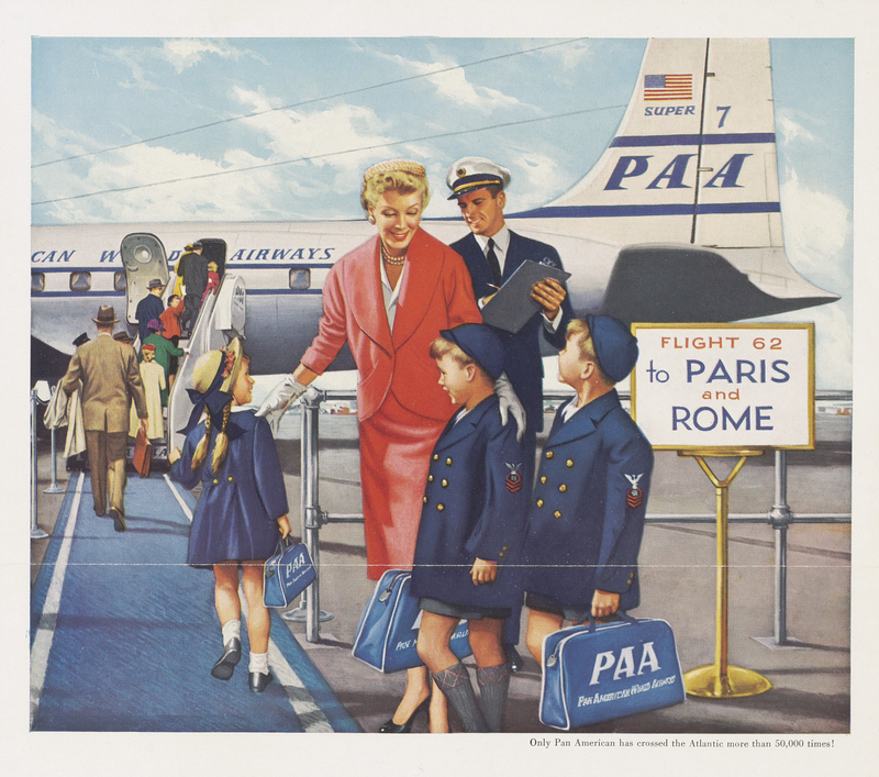 Artistic illustration of passengers boarding a Pan American aircraft