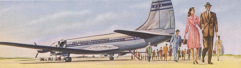 Artistic sketch of passengers disembarking a Pan Am aircraft