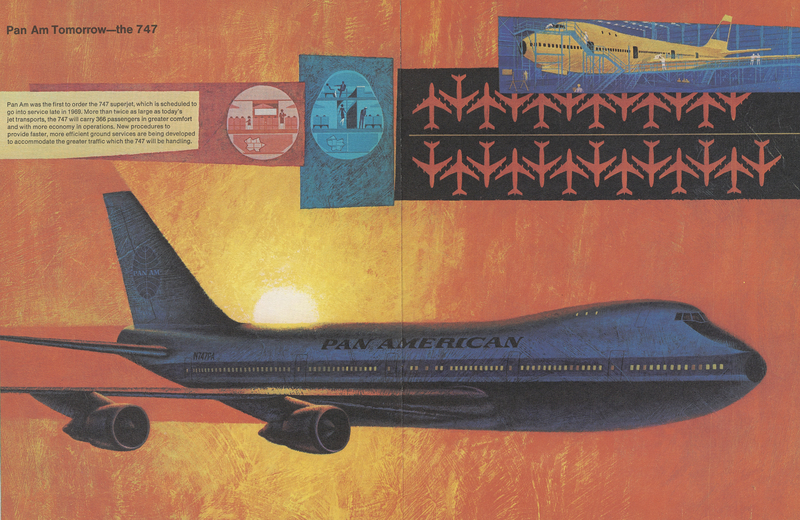 Artistic illustration of the Boeing 747 flown by Pan American Airways