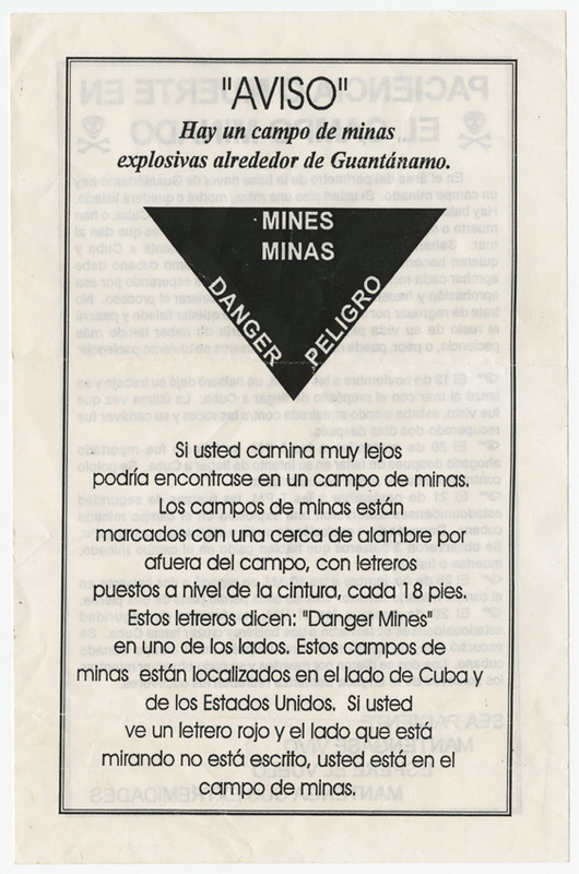 Handout warning of land mines around the Guantanamo Bay Naval Base, 1990s