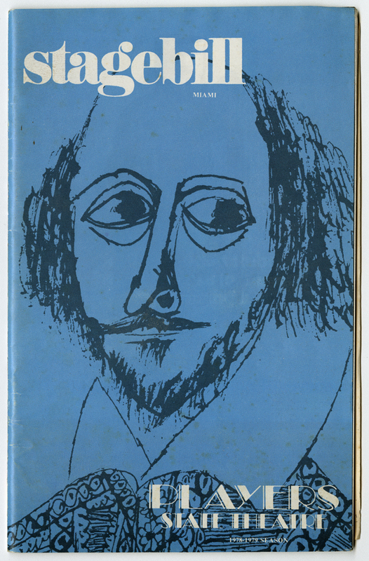 Stagebill Miami decorated with a drawing of Shakespeare