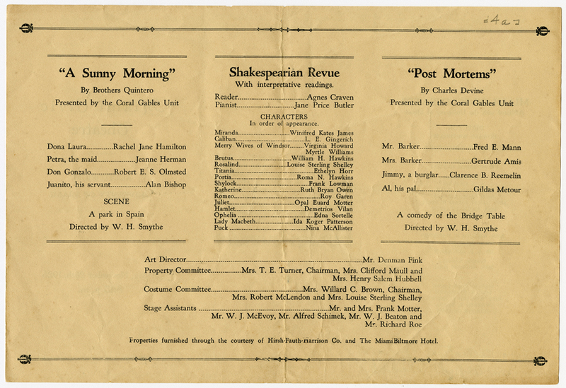 "Playbill including the production ""Shakespearian Revue"""