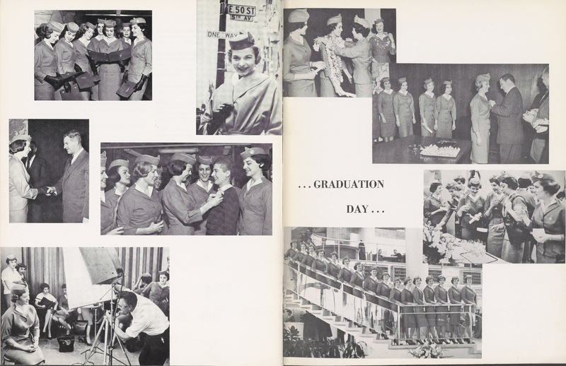A class of Pan Am flight attendants graduating from training school in 1963