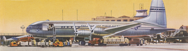 Artistic illustration of a Pan American aircraft