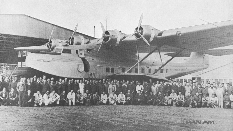 The China Clipper and Pan Am Staff at Alameda, California, December 18, 1936