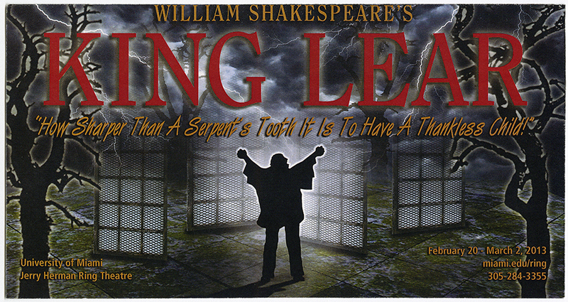 "Lobby card for the production  ""King Lear"""