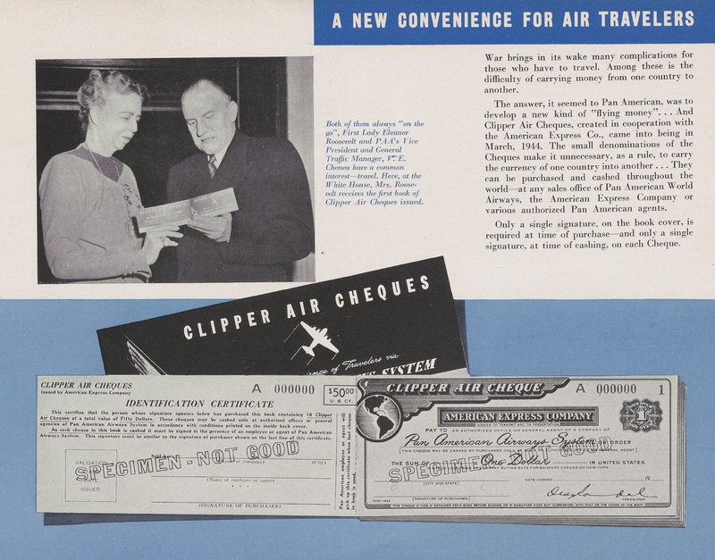 First Lady Eleanor Roosevelt receives the first book of Clipper Air Cheques