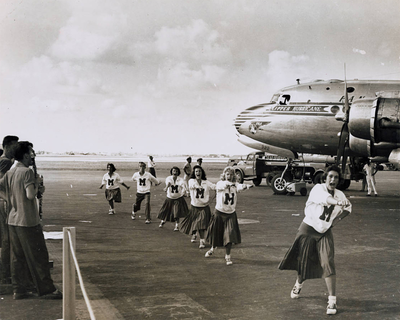 University of Miami cheerleaders at Christening of the Pan American Clipper Hurricane, a DC-4, tail number N88898, at Miami, Florida