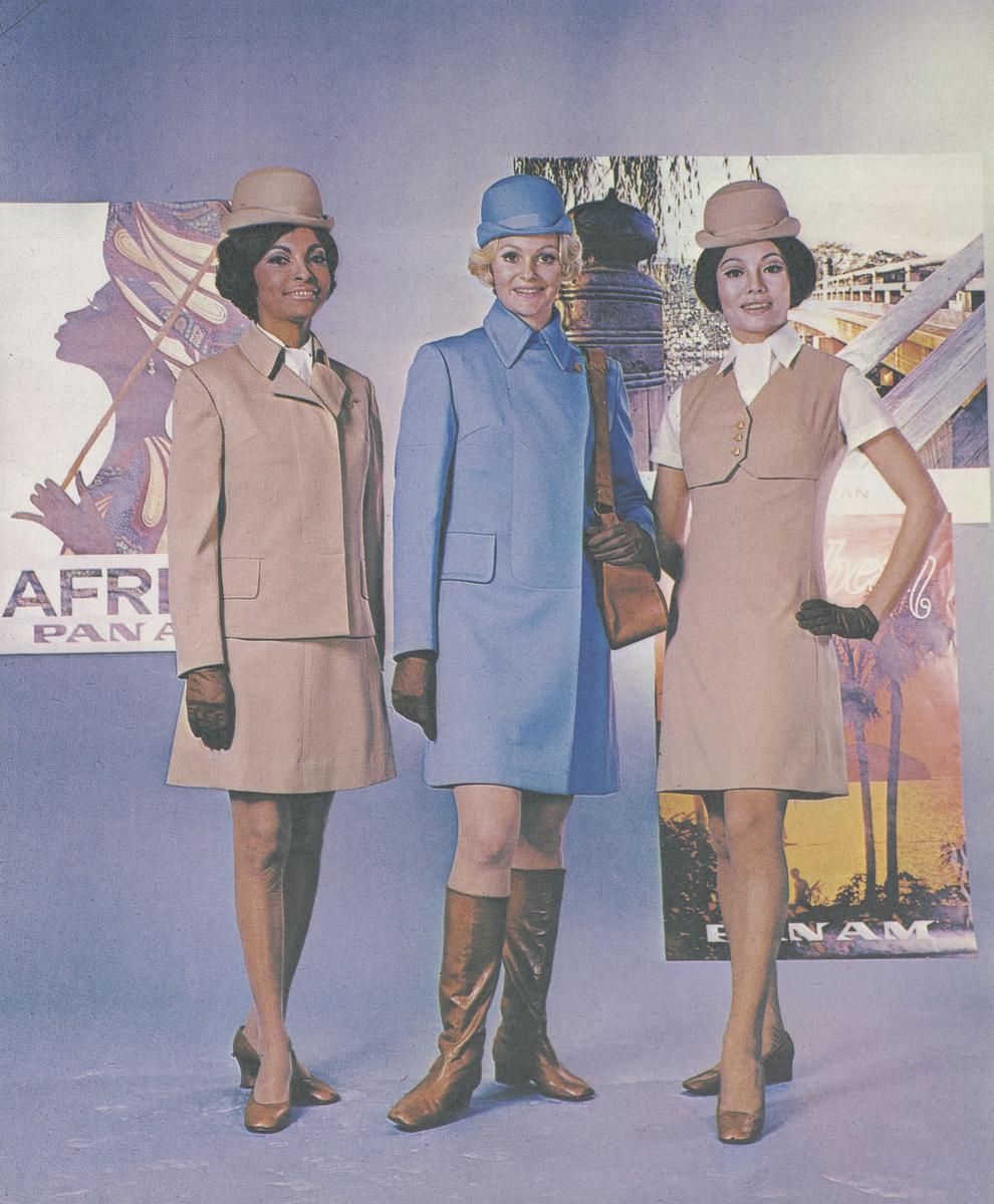 """Pan Am flight attendants model """"The 747 Look"""""""