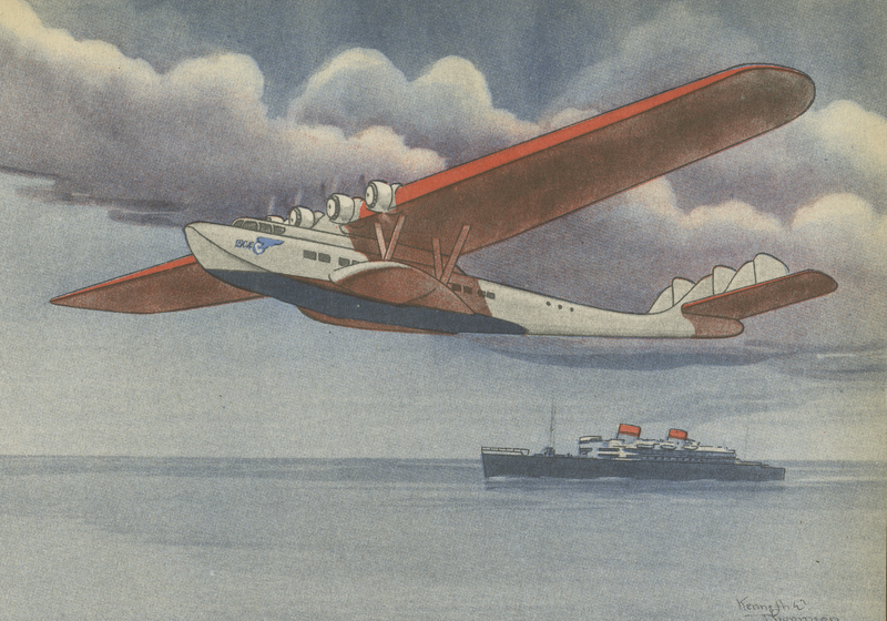 Artistic sketch of a Martin M-130 flying boat flown by Pan American Airways