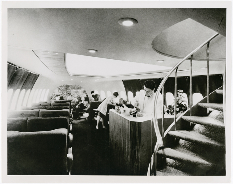 Pan American World Airways Boeing 747, interior image of spiral staircase and bar