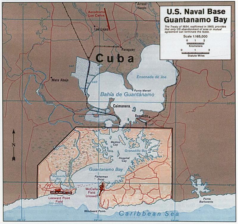 Map of U.S. Naval Base Guantanamo Bay