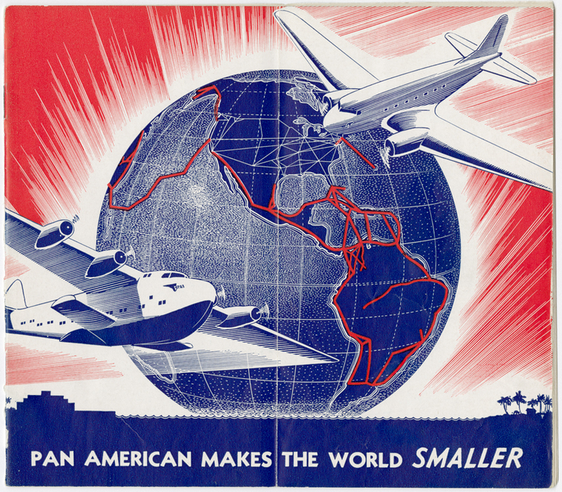 Woodcut print of planes and globe from a 1938 Pan American World Airways timetable