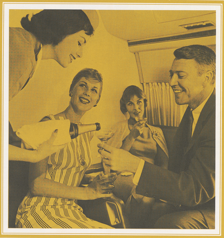 A champagne toast aboard a Boeing 707