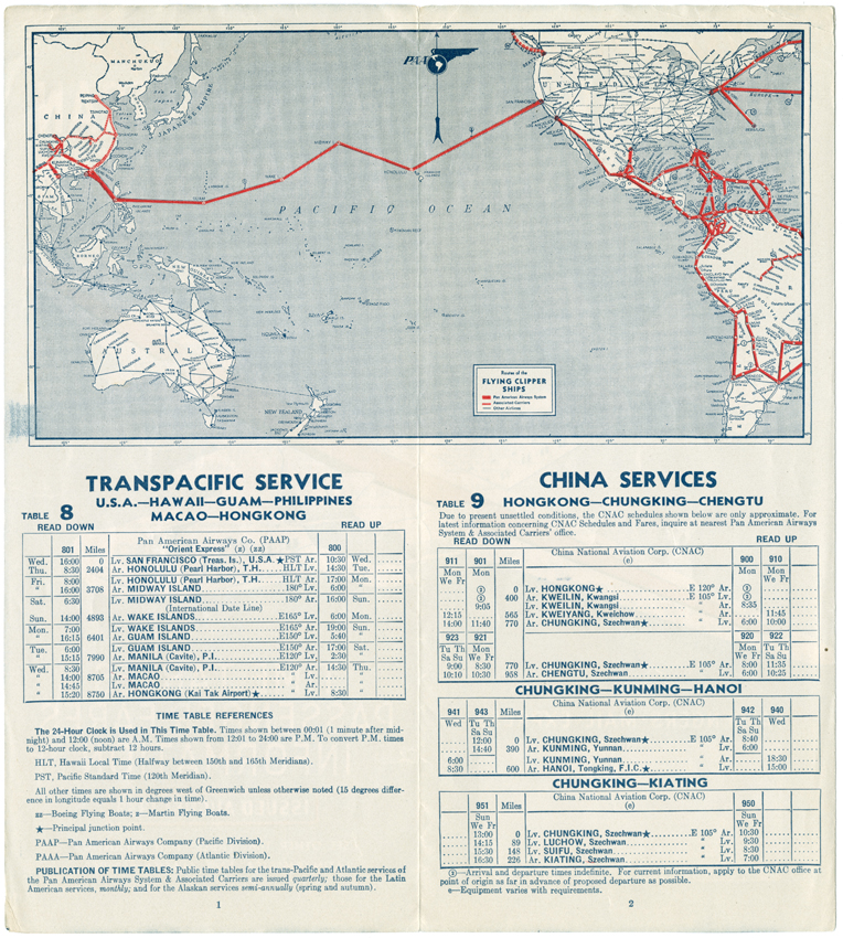 Pan American World Airways route map from 1939 timetable UM
