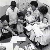 Women with children at the Cuban Refugee Center