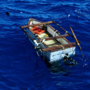 Empty raft at sea in the Florida Straits, 1990s