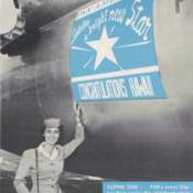 A Pan Am stewardess promotes a special decal placed on Pacific-Alaska Division aircraft to honor Hawaii as the 50th state in the nation
