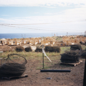 Wooden housing being built for Cuban rafters at Guantanamo Bay Naval Base, 1990s