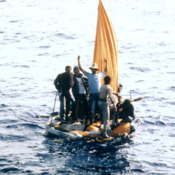 Cuban rafters signaling for help in the Florida Straits, 1990s