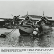 Pan American World Airways Bermuda Clipper, a Sikorsky S-42 flying boat, arrives in Bermuda