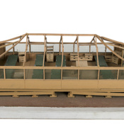 Model of wooden cabins that housed Cuban refugees at Guantanamo Bay Naval Base, 1990s