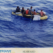 Cuban rafters in the Florida Straits trying to reach the United States, 1990s.
