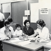 A refugee family is registered at the Cuban Refugee Center