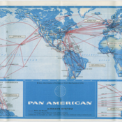 Pan American World Airways route map from 1968 timetable, the year Juan Trippe, founder of Pan American World Airways, retired from the company