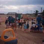 Children playing in a Guantanamo Bay refugee camp, 1990s