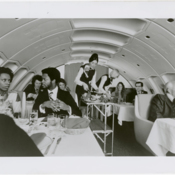 Dining service aboard a Pan American World Airways Boeing 747SP