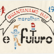 Sign for the Guantanamo Bay Marathon sponsored by Camp Golf newspaper El Futuro, 1995