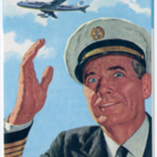 Cover of Pan American World Airways Boeing 707 brochure with picture of pilot