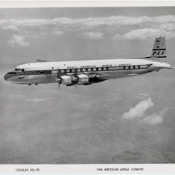 Pan American World Airways DC-7B exterior in flight over Buenos Aires