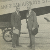 """Flying ace Captain Eddie Rickenbacker and """"Cannonball"""" Baker, celebrated racing driver, boarding a Pan American flight at Dinner Key"""