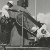 Pan Am GMRD employees performing tests of equipment on Pad 19 at Cape Canaveral, circa 1965