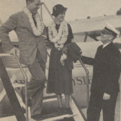 "First transpacific honeymooners arriving in Honolulu aboard the ""Philippine Clipper"" in 1936"