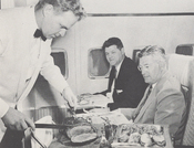 Roast beef was carved to order aboard Pan Am's DC-8 jet planes