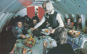 Restaurant-like dining in the upstairs lounge of Pan Am's Boeing 747 aircraft