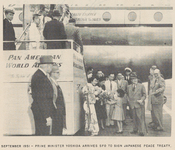 Prime Minister Yoshida arriving in San Francisco to sign the Peace Treaty With Japan, September 1951