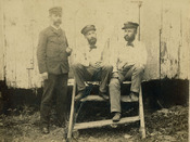 Ralph M. Munroe (center) with fellow navigators Foot (left) and Hine (right), 1886-1887