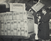 Loading eggs onto a Pan Am Clipper for shipment to Czechoslovakia by the United Nations Relief & Rehabilitation Agency in 1946