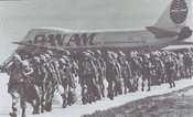 U.S. troops disembarking a Pan Am flight in the Middle East