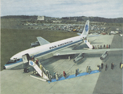 Artistic illustration of passengers disembarking a Boeing 707 airplane