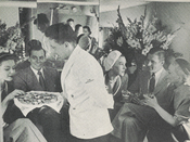 Appetizers served in the lower lounge of Pan Am's Stratocruiser, circa 1950