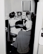 Women in dressing room aboard a Pan American World Airways Boeing 314